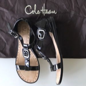 Cole Haan Black Patent leather sandals size 5.5